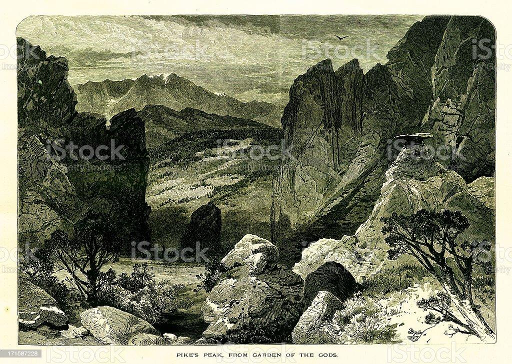 Pikes Peak, Colorado | Historic American Illustrations royalty-free stock vector art