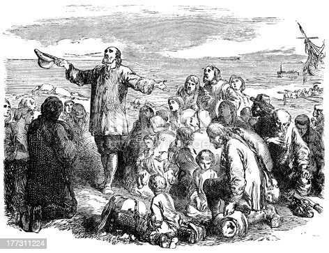 An engraved illustration of the Pilgrim Fathers leaving England, from a Victorian book dated 1883 that is no longer in copyright