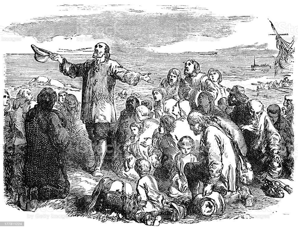 Pilgrim Fathers Leaving England vector art illustration