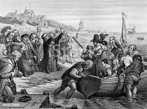 An engraved illustration of the Pilgrim Fathers leaving England, from a Victorian book dated 1886 that is no longer in copyright