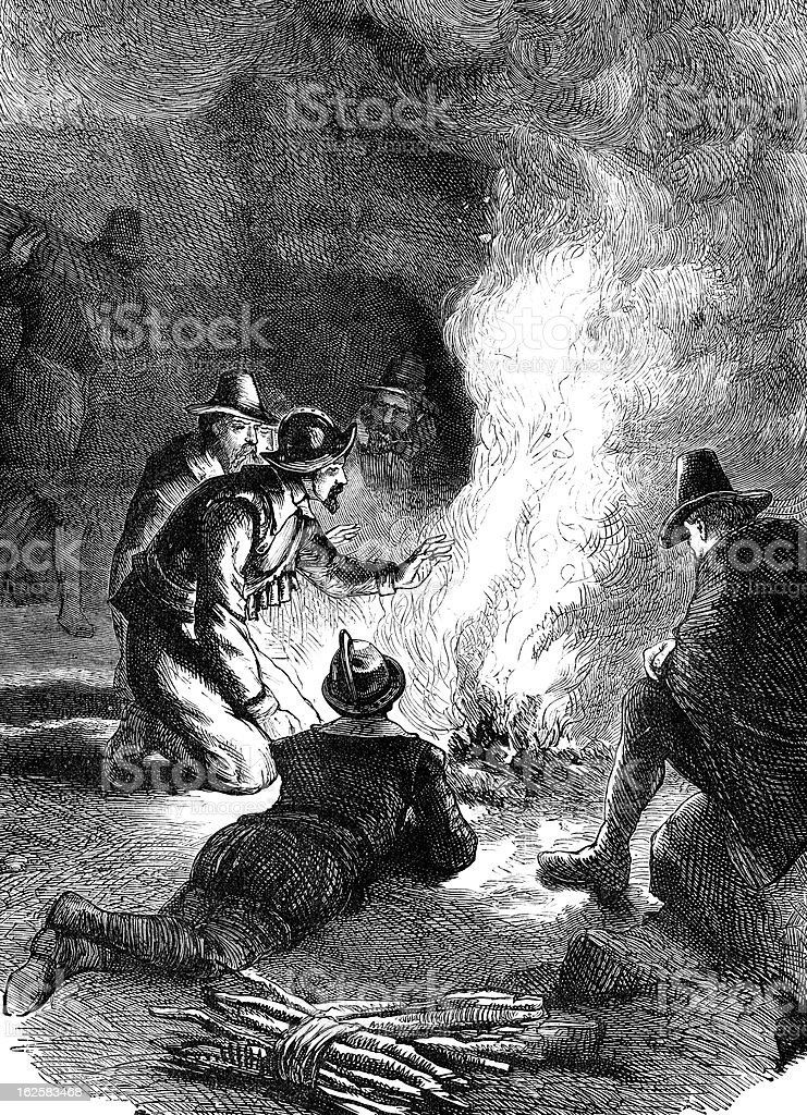 Pilgrim Fathers OIn The Shores Of New Plymouth vector art illustration