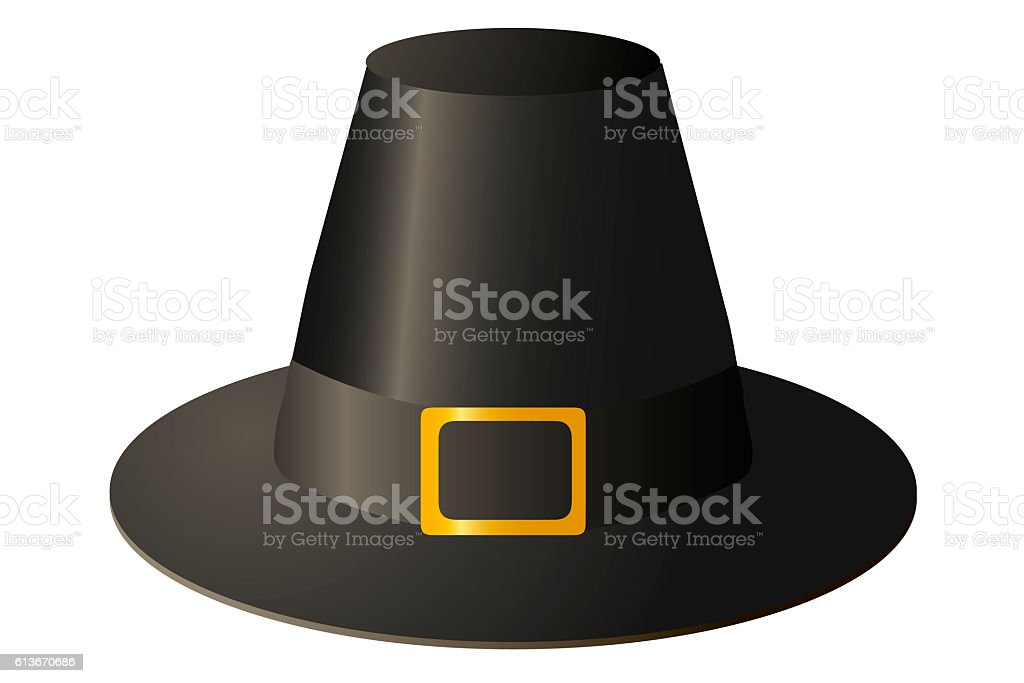 Pilgrim hat with gold buckle on white background. vector art illustration