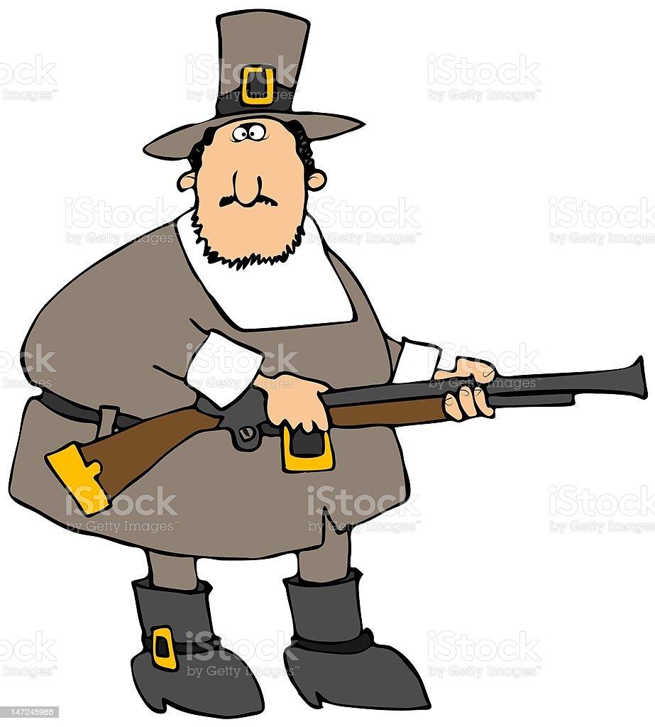 Pilgrim With A Gun royalty-free stock vector art
