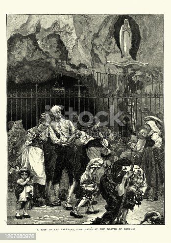 Vintage illustration of Pilgrims at the Grotto of Lourdes, Occitanie, France. In 1858 Lourdes rose to prominence in France and abroad due to the Marian apparitions claimed to have been seen by the peasant girl Bernadette Soubirous, who was later canonized. Shortly thereafter the city with the Sanctuary of Our Lady of Lourdes became one of the world's most important sites of pilgrimage and religious tourism.