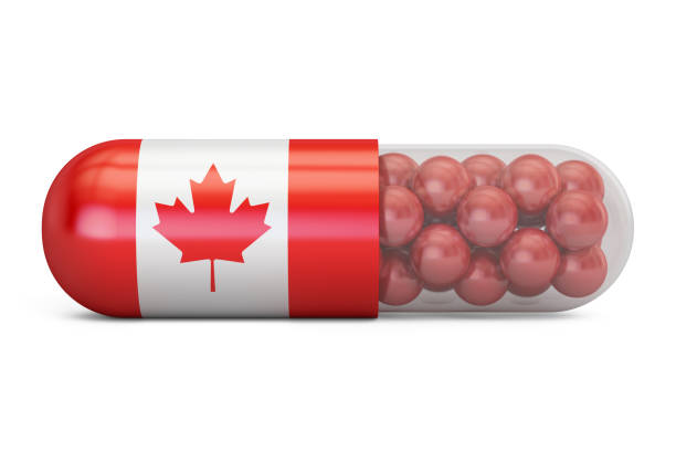 Pill capsule with Canada flag. Canadian health care concept, 3D rendering vector art illustration