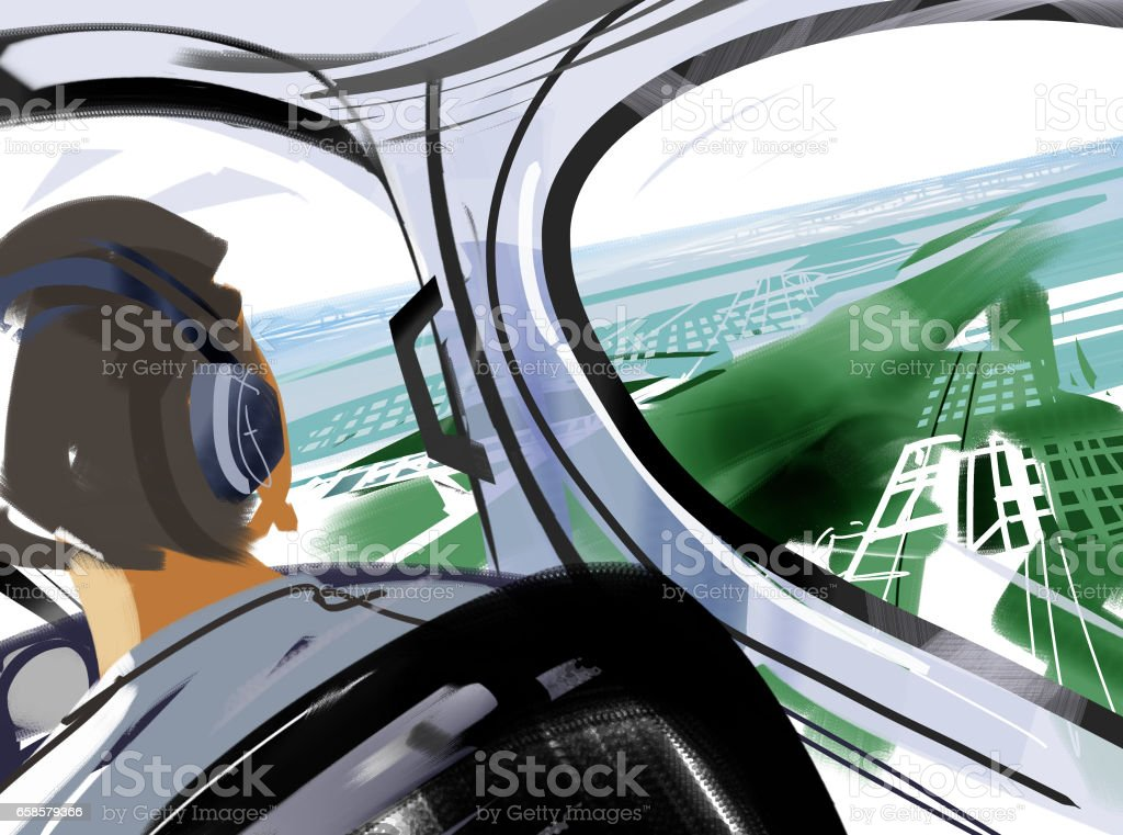 Pilot and pilot's seat vector art illustration