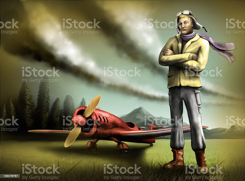 pilot and plane vector art illustration