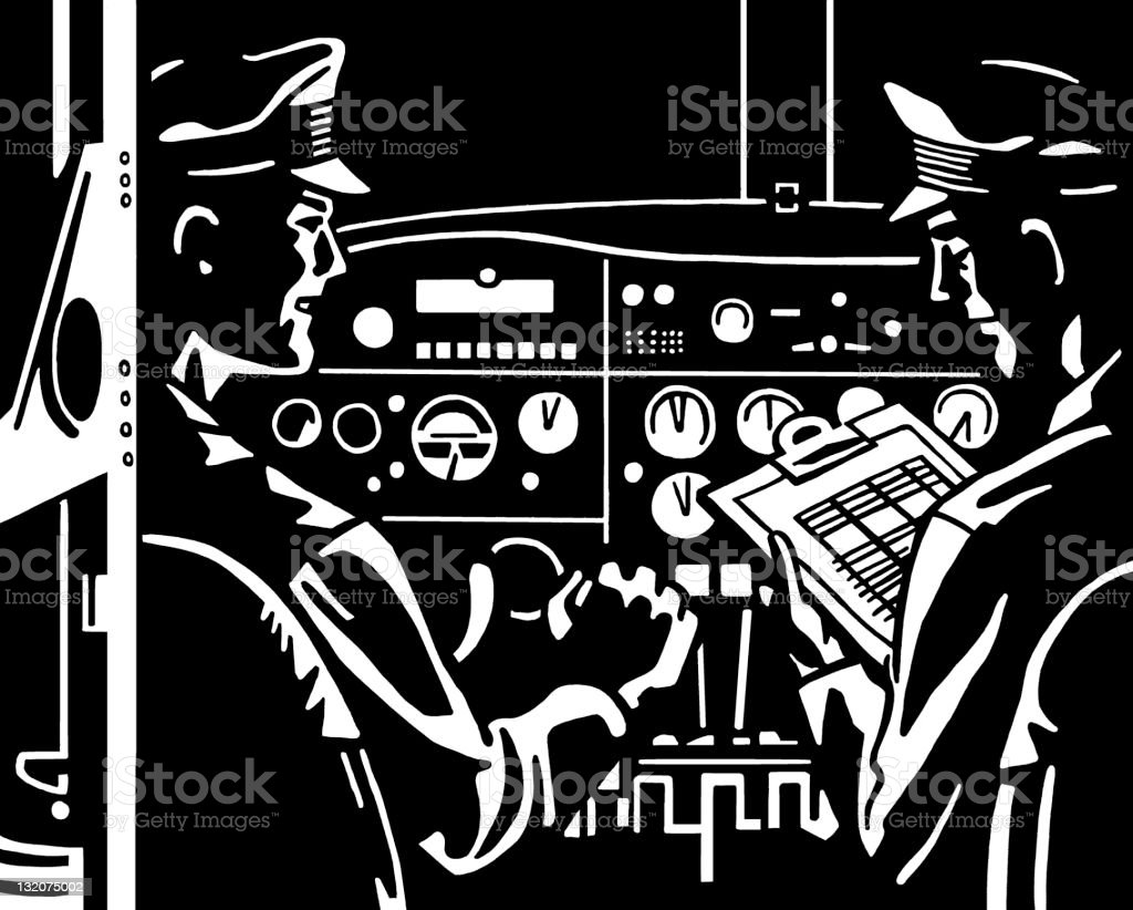 Pilots in Cockpit royalty-free stock vector art