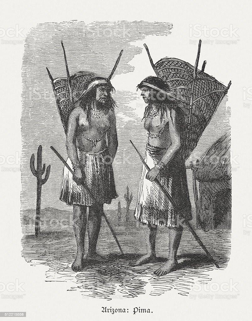 Pima people, Arizona, USA, wood engraving, published in 1880 vector art illustration