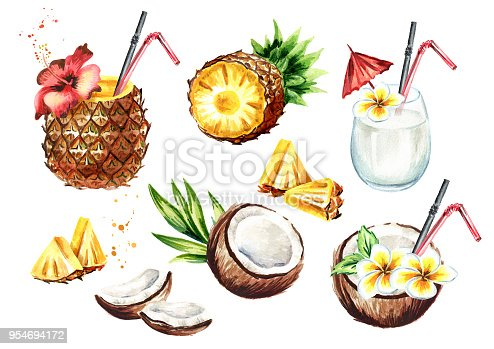 istock Pina colada cocktail set with coconut and pineapple. Watercolor hand drawn illustration,  isolated on white background 954694172