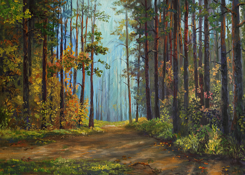 pine forest in autumn, oil painting