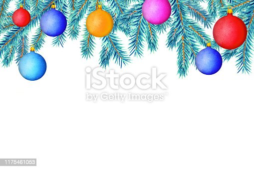 Pine tree branches, colorful balls. Watercolor. Border. Christmas Decoration. Close up isolated on white background. Hand painting on paper. Space for text