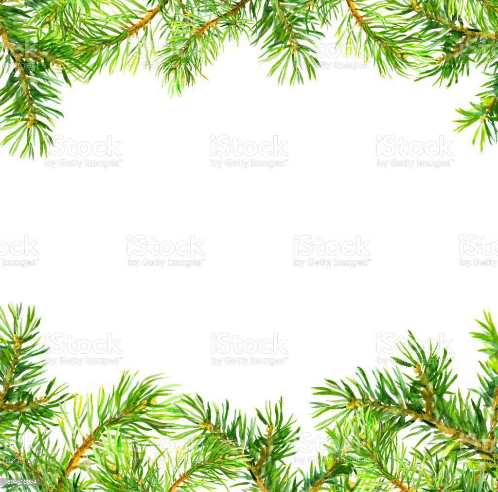 Kiefer Baum Zweige Rahmen Weihnachtskarte Aquarell Stock Vektor Art ...