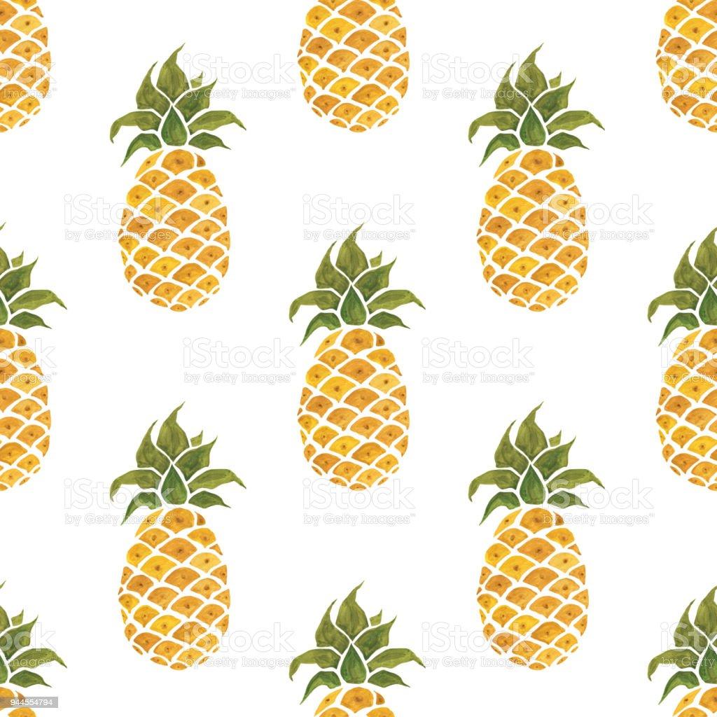 Ananas Achtergrond Aquarel Naadloze Patroon Stockvectorkunst En Meer