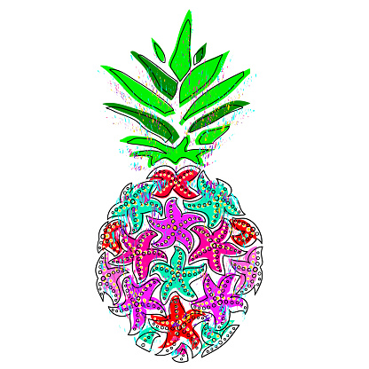 Pineapple illustration. Colorful starfish pineapple on a white background.