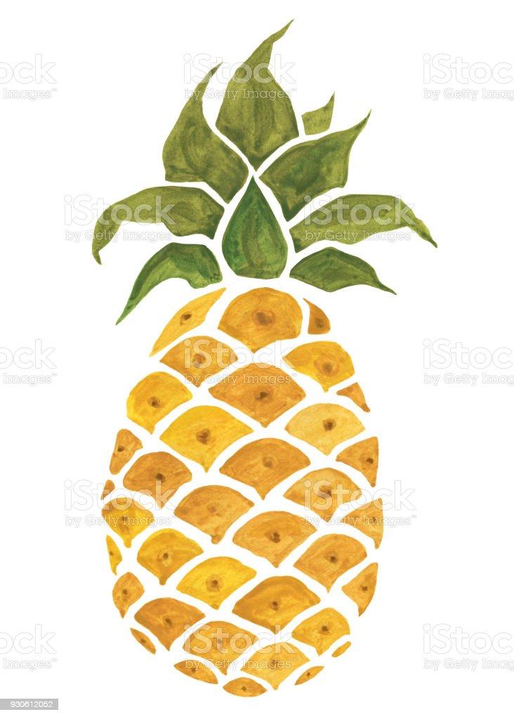 pineapple watercolor illustration stock vector art amp more