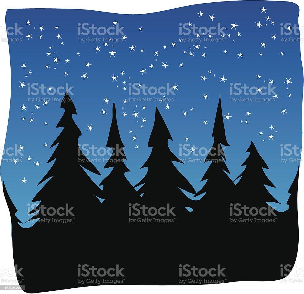 Pines at Night royalty-free stock vector art