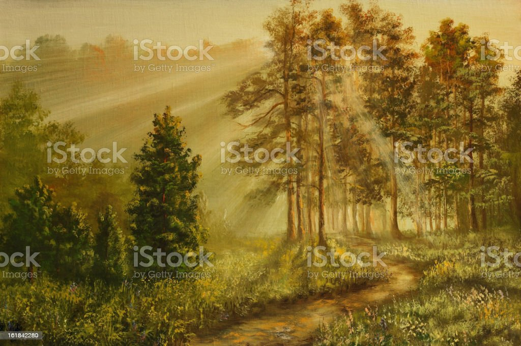 Pines in a fog royalty-free pines in a fog stock vector art & more images of art