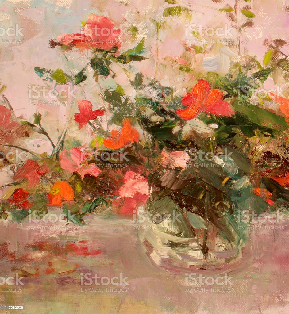Pink And Red Roses In Glass Jar Stock Vector Art & More Images of ...