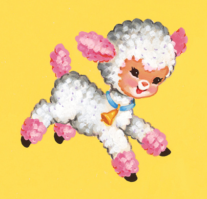 Pink and White Lamb Frolicking