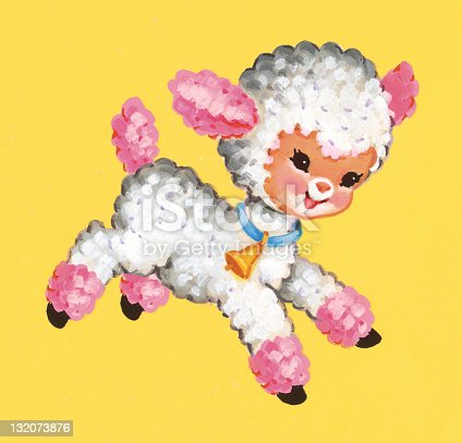 istock Pink and White Lamb Frolicking 132073876
