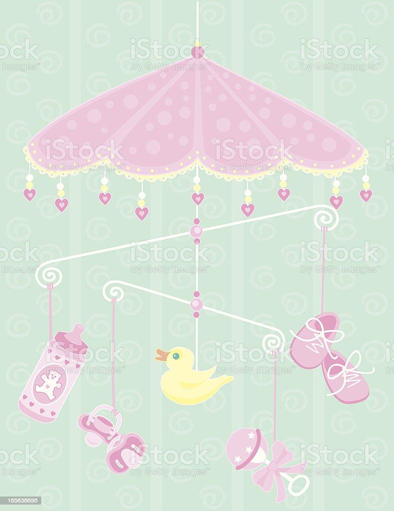 Pink Baby Mobile vector art illustration
