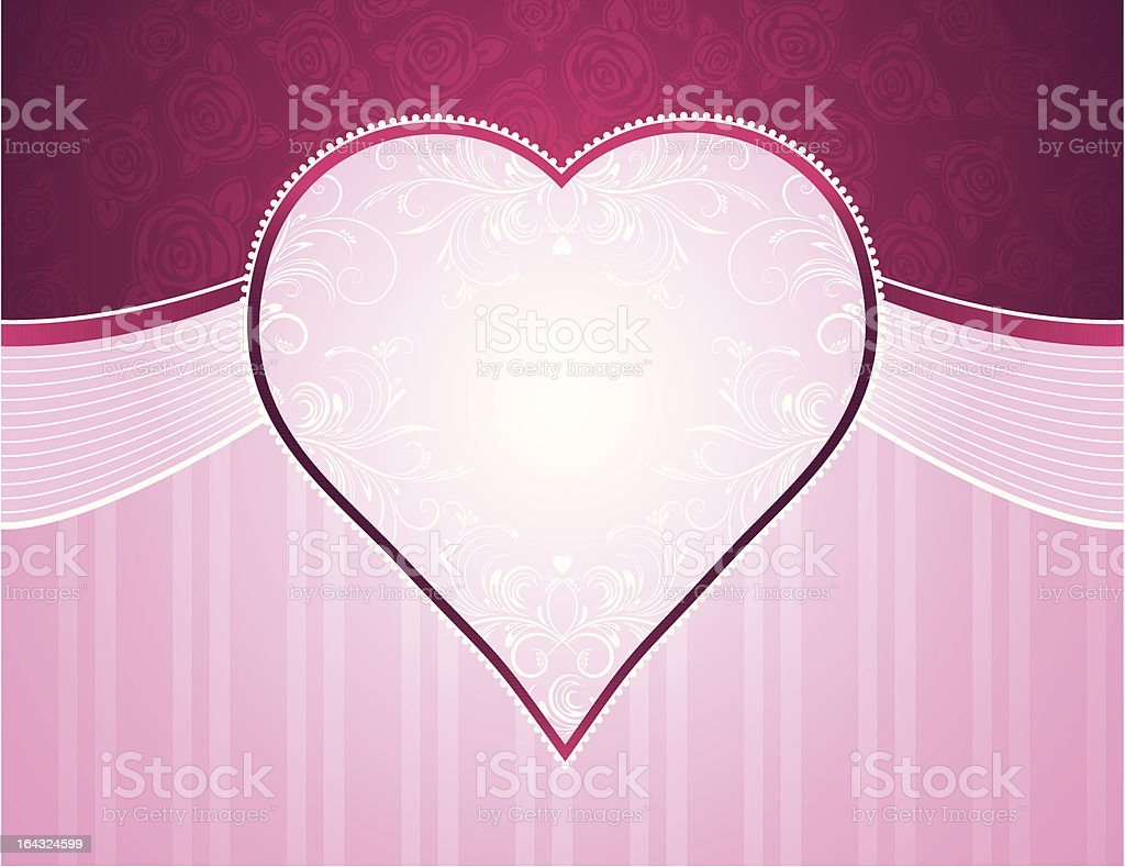 pink background with big heart and roses royalty-free pink background with big heart and roses stock vector art & more images of abstract