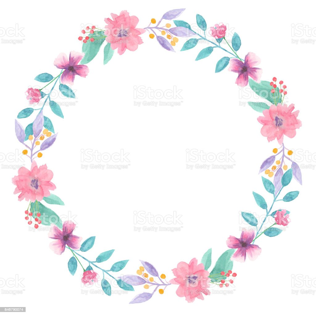 Pink blue flower watercolor wreath hand painted stock vector art pink blue flower watercolor wreath hand painted royalty free pink blue flower watercolor wreath hand izmirmasajfo Gallery