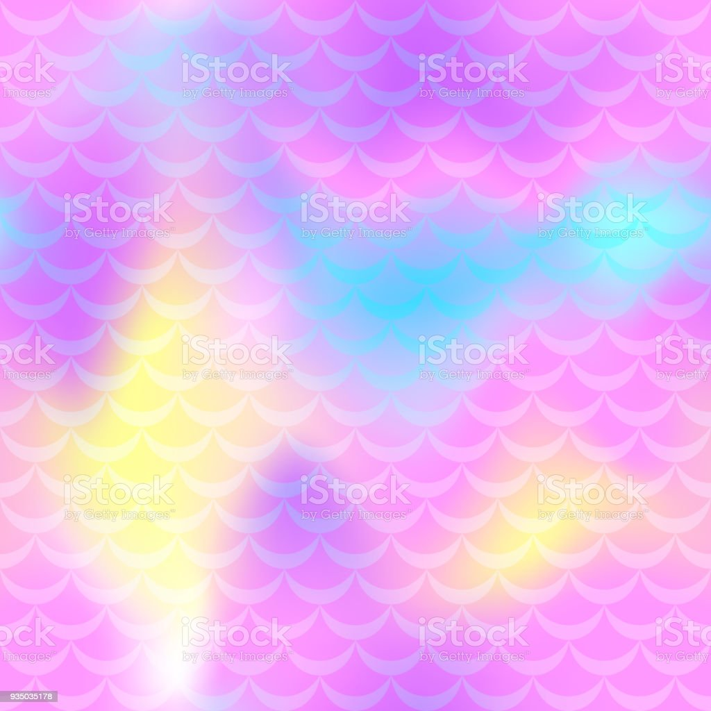 Pink blue yellow mermaid scale vector background. Pastel iridescent background. Fish scale pattern. vector art illustration