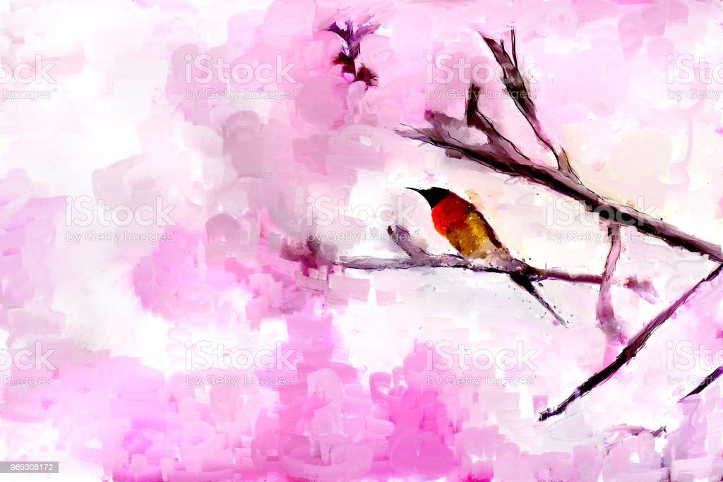 Fleurs de cerisier roses au printemps avec l'oiseau sur la branche - Illustration de Abstrait libre de droits