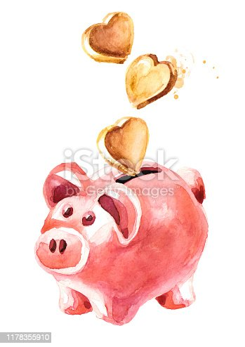 Pink cute pig money box. Piggy bank with golden hearts falling into slot. Love concept. Watercolor hand drawn illustration, isolated on white background
