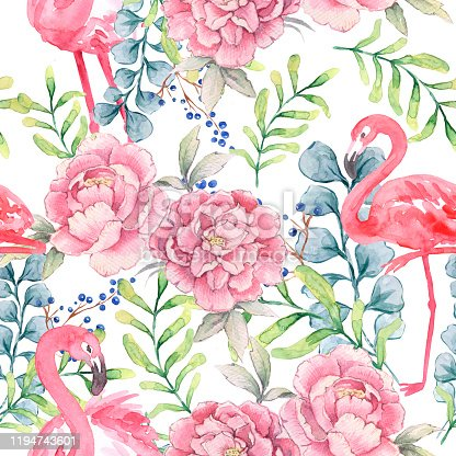 Pink Flamingo flowers pattern. Watercolor drawing. Pink Flamingo on white background. Beautiful watercolor flowers. Seamless pattern.