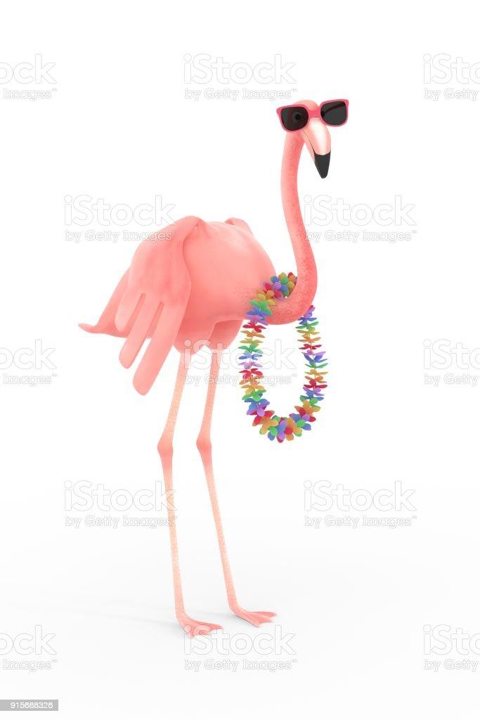 flamant rose avec des lunettes de soleil et de la guirlande de fleurs - Illustration vectorielle