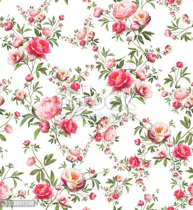 Seamless pink floral pattern on a white background