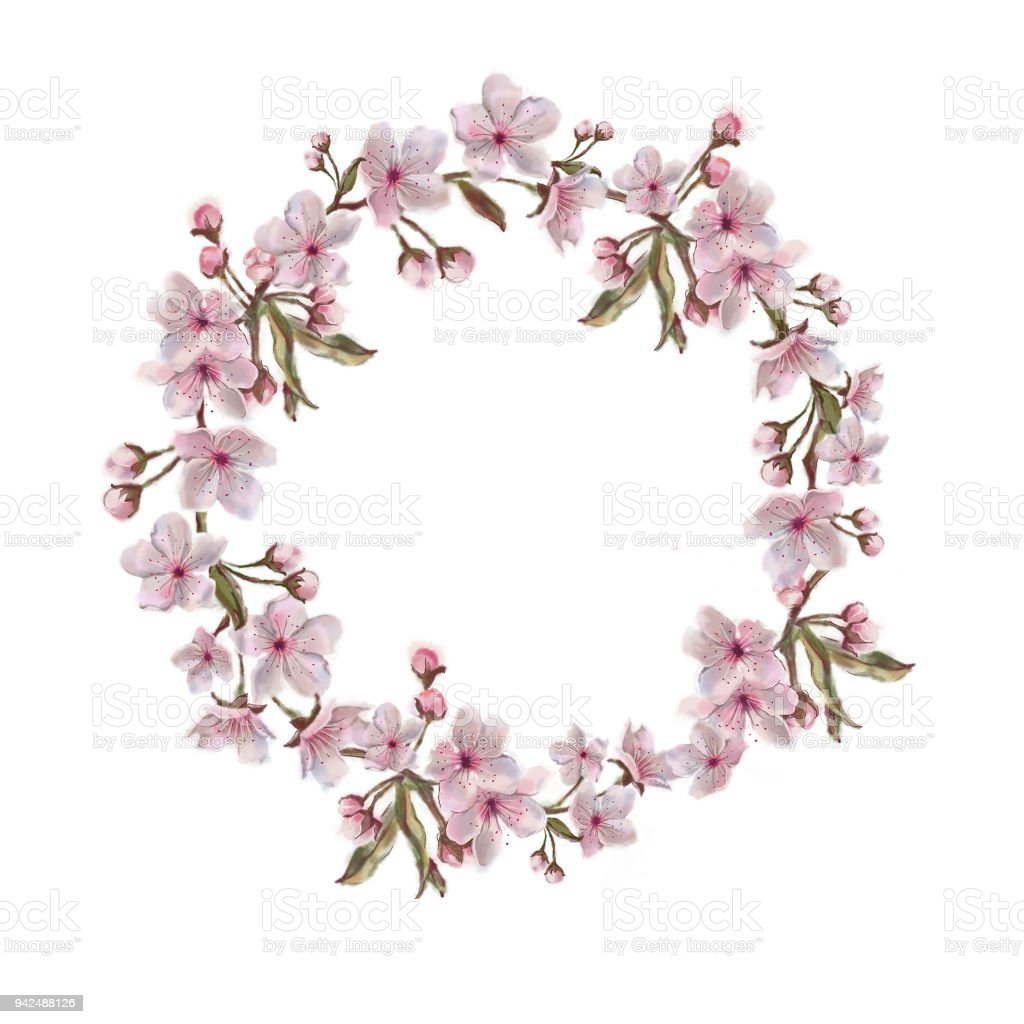 Pink Floral Wreath Isolated On White Stock Vector Art More Images