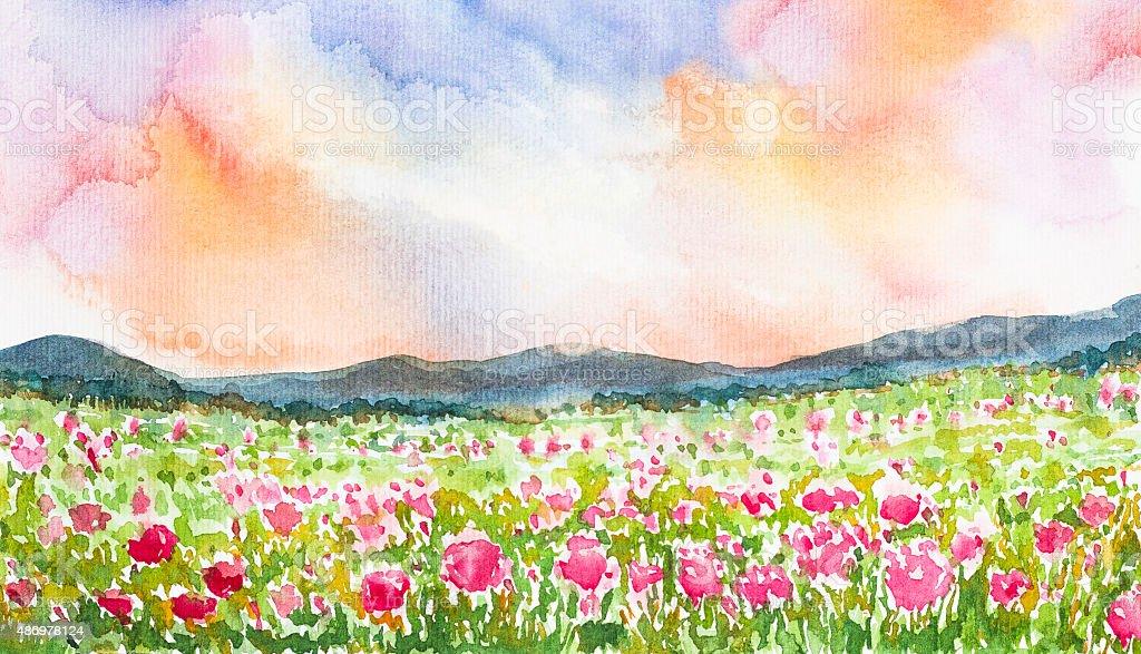 Pink flower field landscape watercolor painted stock vector art pink flower field landscape watercolor painted royalty free pink flower field landscape watercolor painted stock mightylinksfo