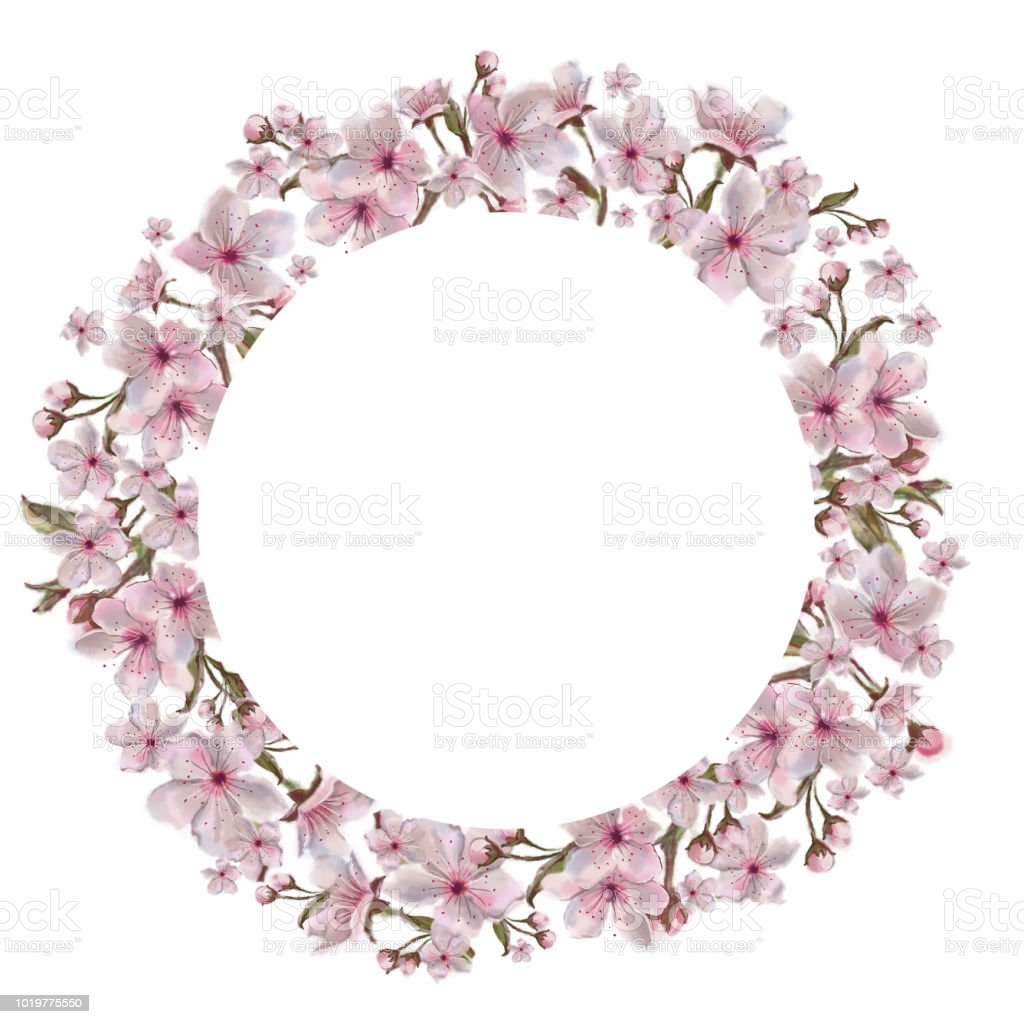 Pink Flower Round Template Isolated On White Background Watercolor