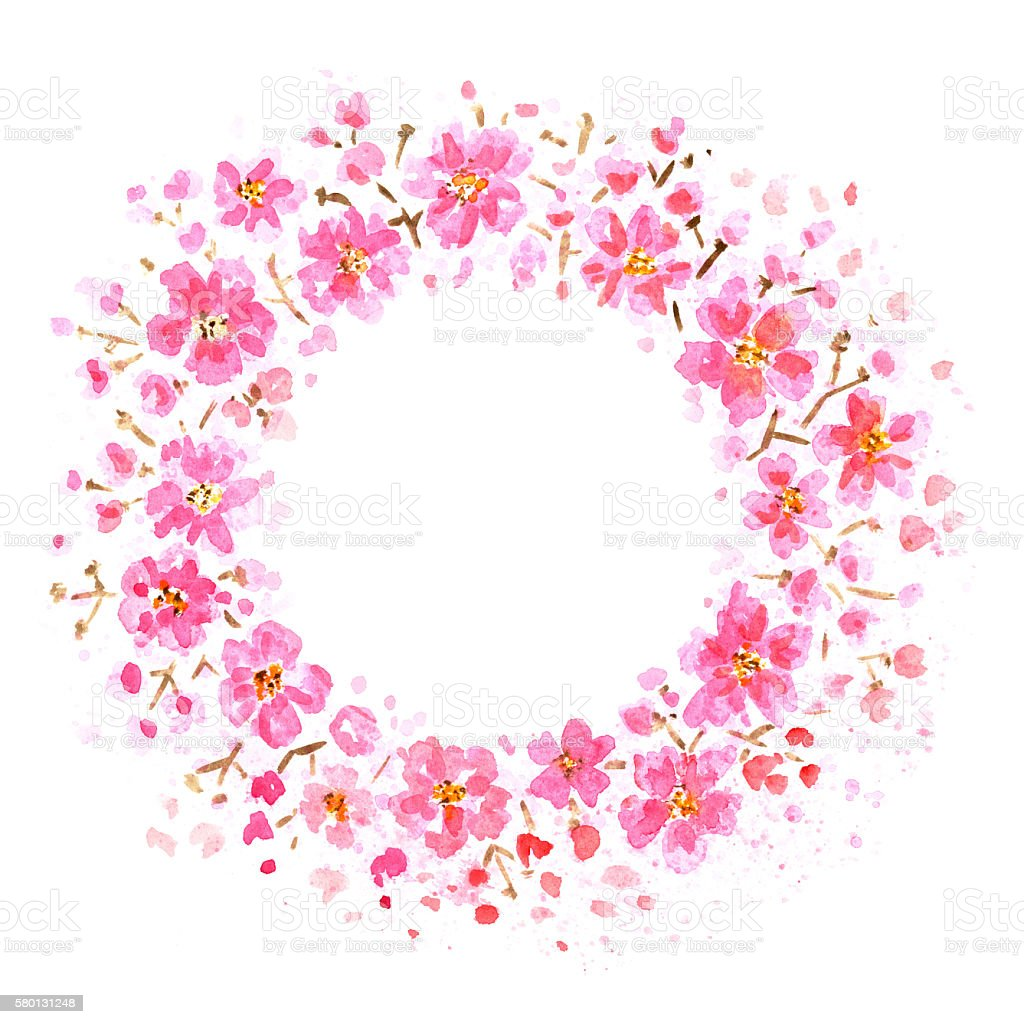 pink flowers frame stock vector art more images of branch plant part 580131248 istock. Black Bedroom Furniture Sets. Home Design Ideas