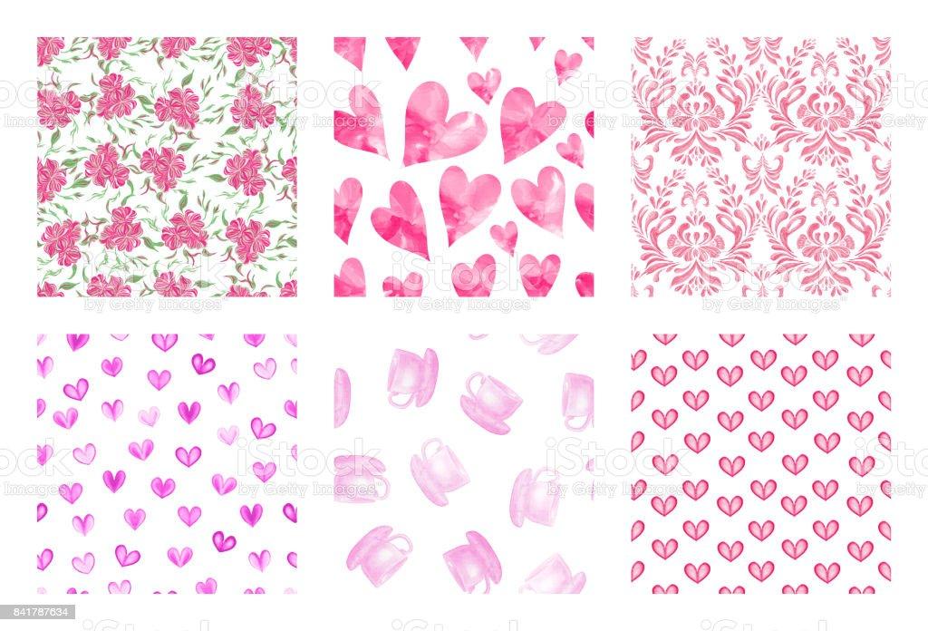 Rosa Herz Muster Festlegen Hintergrund Stock Vektor Art und mehr ...
