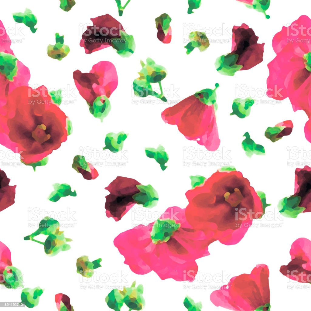 Pink Hollyhocks Seamless Pattern royalty-free pink hollyhocks seamless pattern stock vector art & more images of art