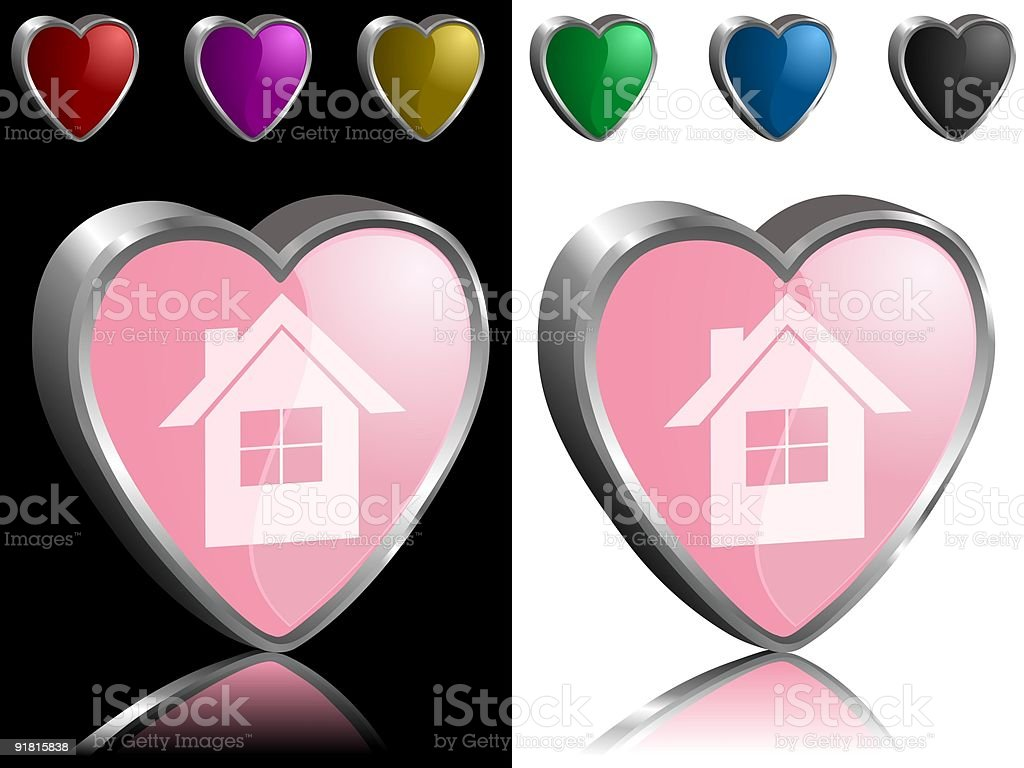 Pink house vector art illustration
