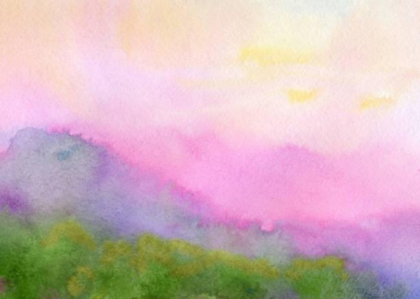 bildbanksillustrationer, clip art samt tecknat material och ikoner med rosa liggande, akvarell målning - pink sunrise