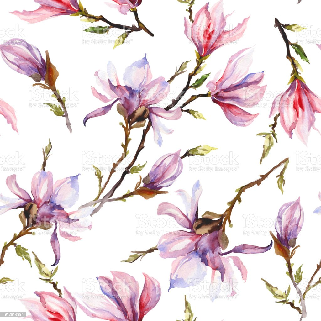 Pink Magnolia Flowers On A Twig On White Background Seamless Pattern