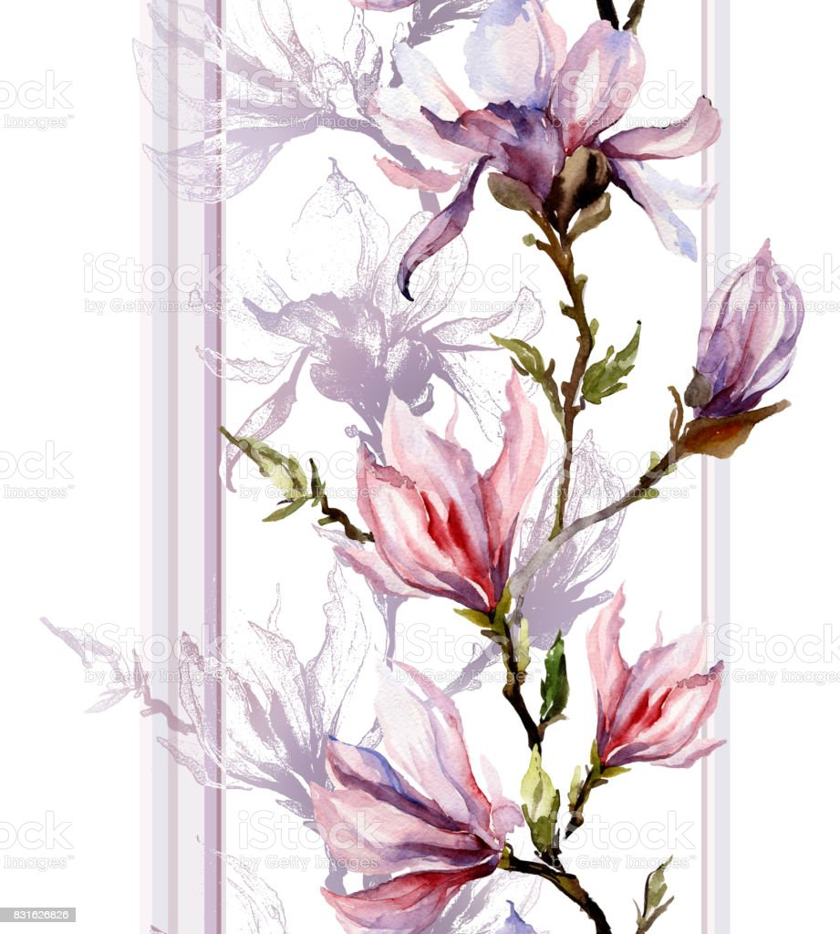 Pink magnolia flowers on a twig with shadow and vertical lines on white background. Seamless pattern. Watercolor painting. vector art illustration