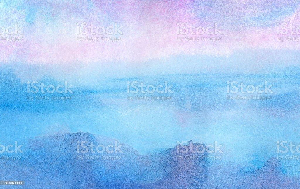 Pink morning - watercolor background vector art illustration