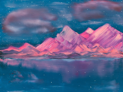 Pink Mountains on the Lake Contemporary Art Painting