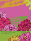 Set of two pink peonies banners. Vector. EPS 8.