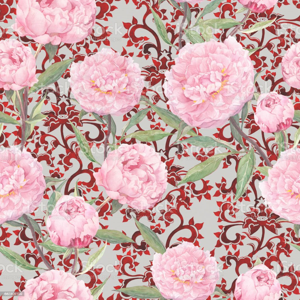 Pink Peony Flowers At Red Chinese Ornament Floral Repeating Asian