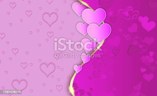 istock Pink Shade Hearts Background For Your Beautiful Postcard, Love Message or Greeting Card. 1292428270