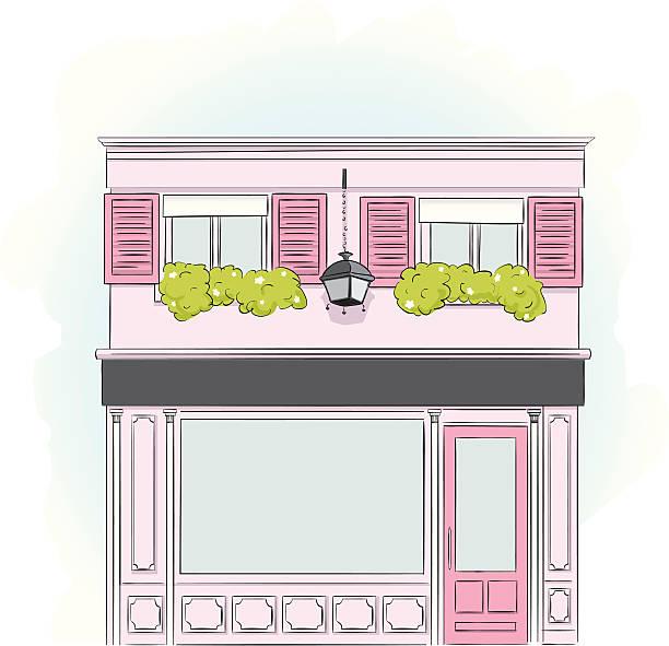 розовый storefront - карниз stock illustrations